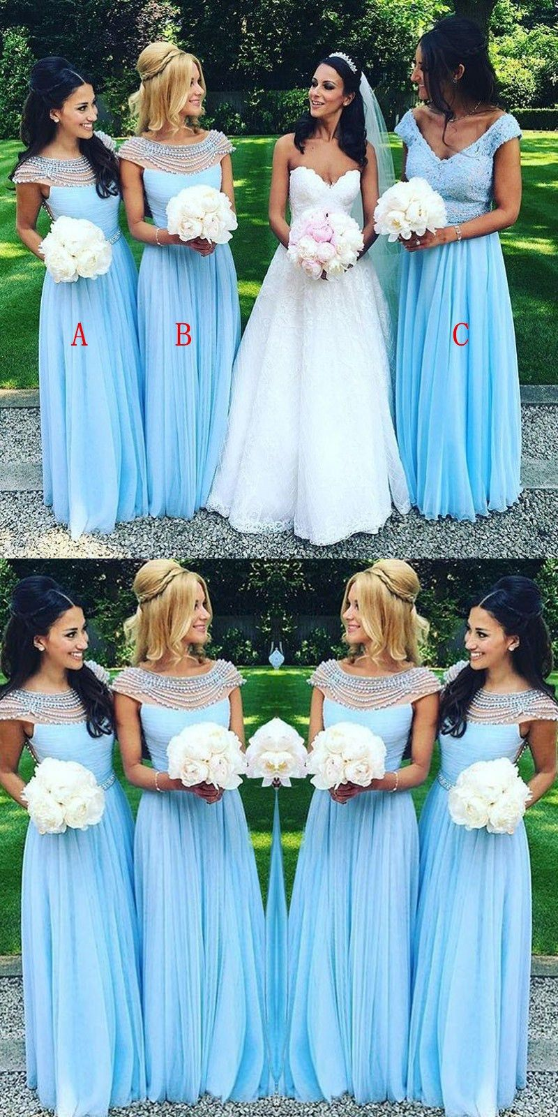 Charming bateau floorlength cap sleeves open back blue bridesmaid