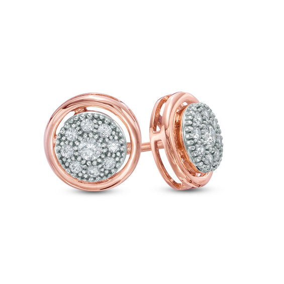 0.36 Carat D//VVS1 Round Cut Trillium Studs Earrings Solid 10k Rose Gold