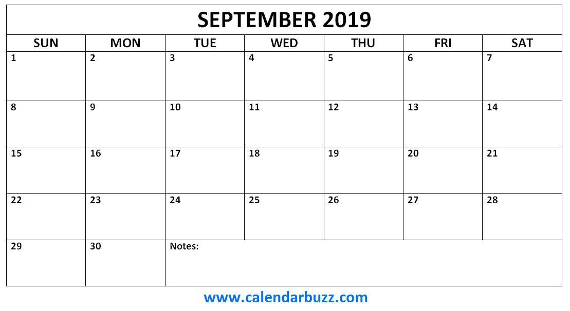 September 2019 Calendar Monthly Printable 2019 Calendars Monthly