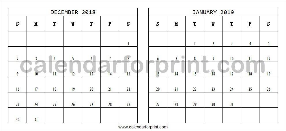 Print December 2018 Calendar Calendar, December, 2019 calendar