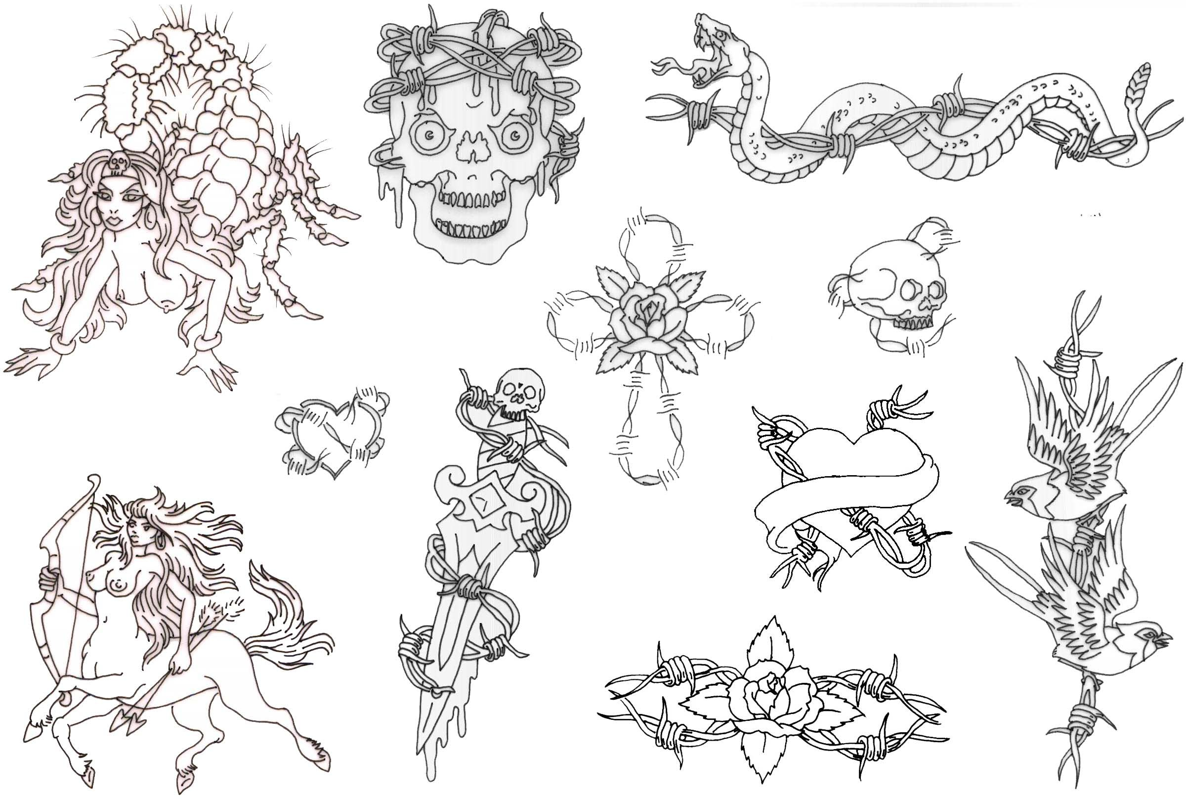 picture about Free Printable Tattoo Flash identify Totally free Printable Tattoo Flash Al: Misc Flash Sheets