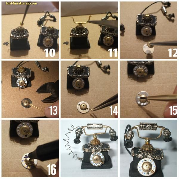 Forum dollhouses and miniatures :: Tutorial old phone different types ideal for home or office - Spanish
