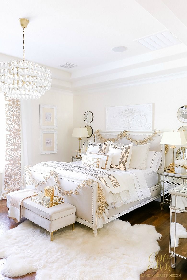 Elegant White and Gold Christmas Bedroom Tour - Randi Garrett