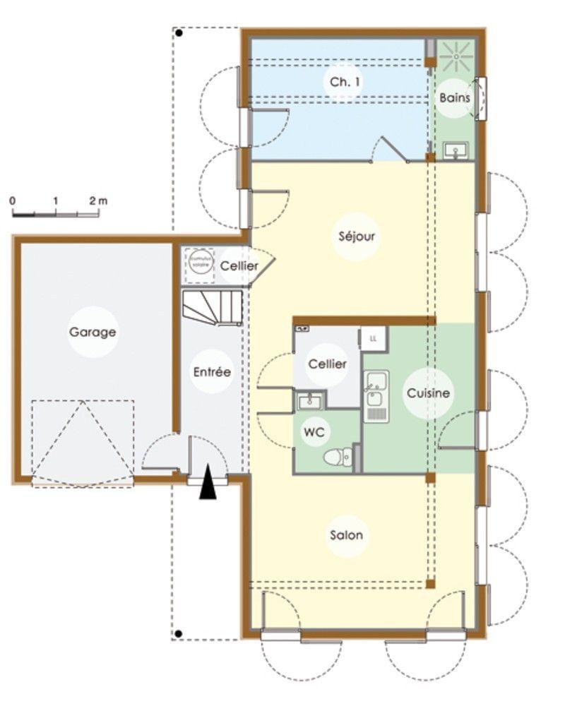 plan maison contemporaine en bois rez de chauss e cette maison toute en longueur est. Black Bedroom Furniture Sets. Home Design Ideas