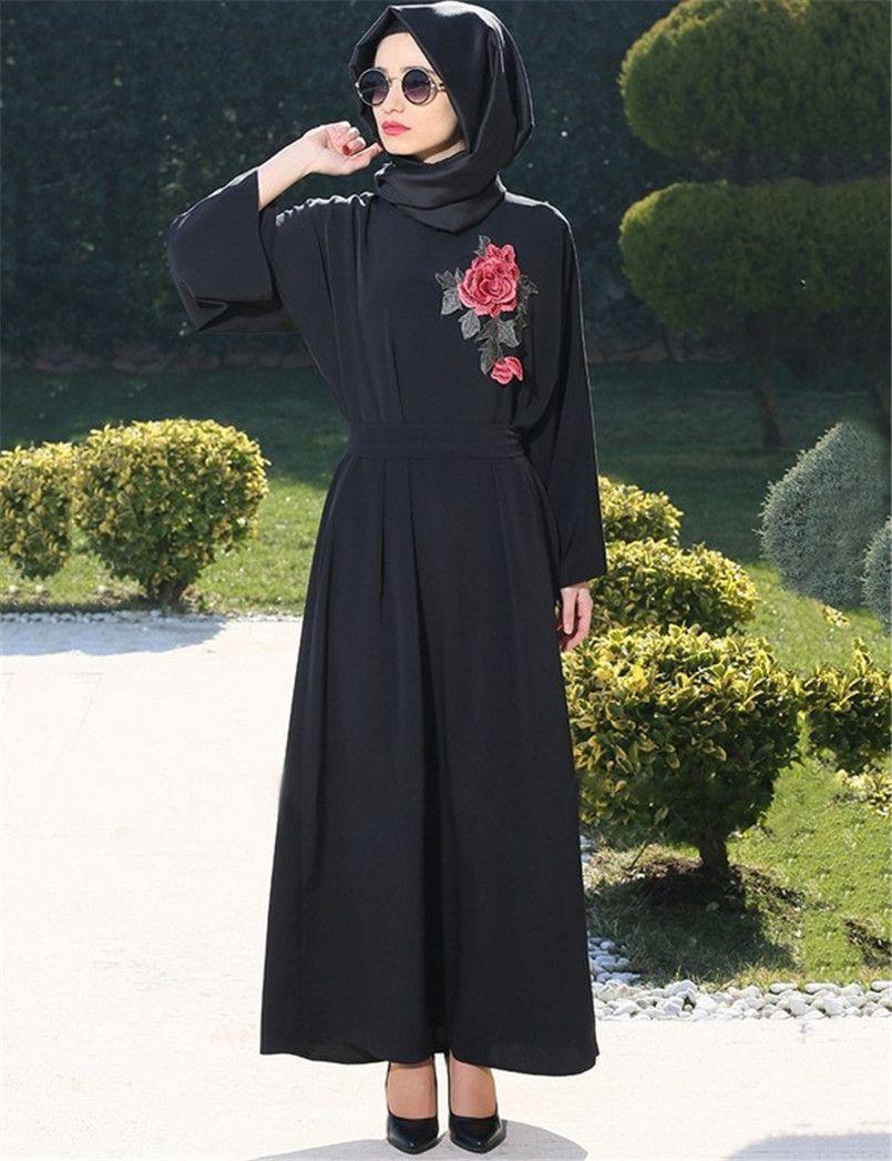 0489ca5c9b16 A022 Embroidery Chiffon with Belt Muslim Lady long Dress Classic Black  Fashion Design New style Round Long sleeve Islamic Abayas #Abaya style