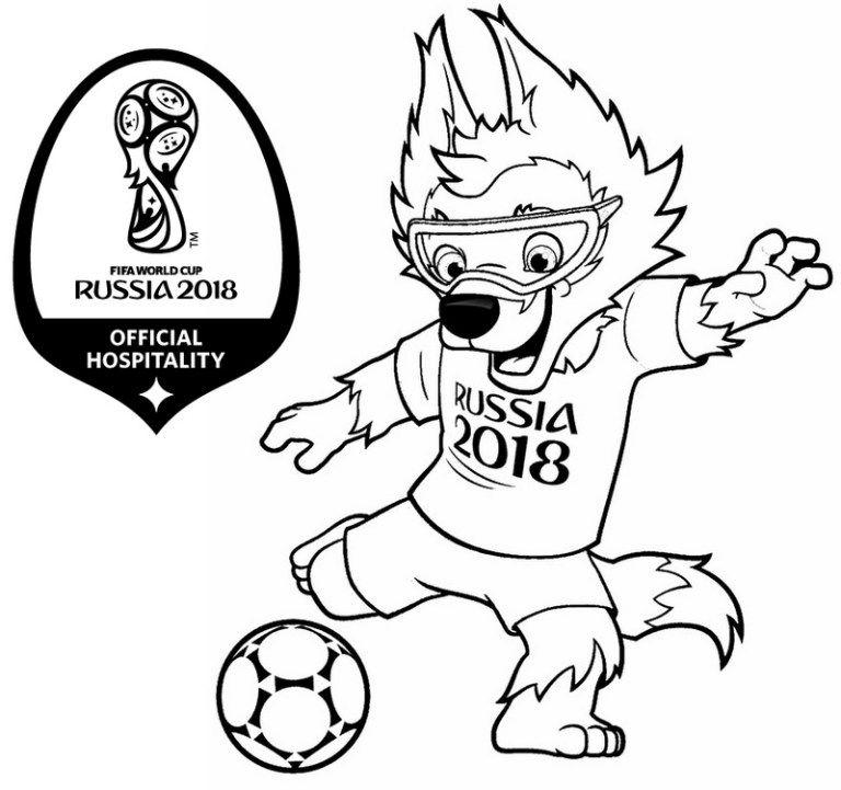 Mascot World Cup Russia 2018 Coloring Page Copa Do Mundo