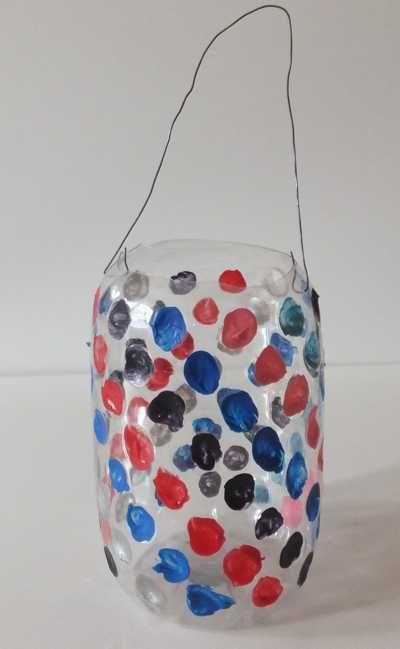 Laterne mit Punkten eine Flaschen Laterne