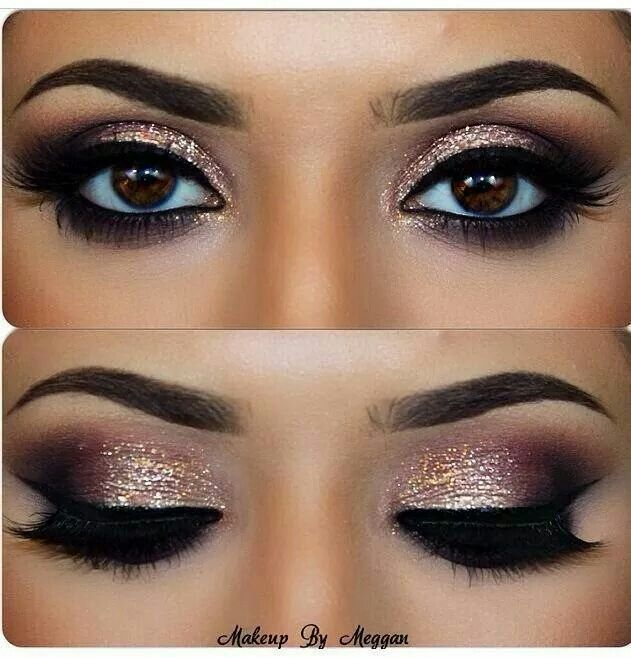 Gold eyeshadow & winged eyeliner for a party