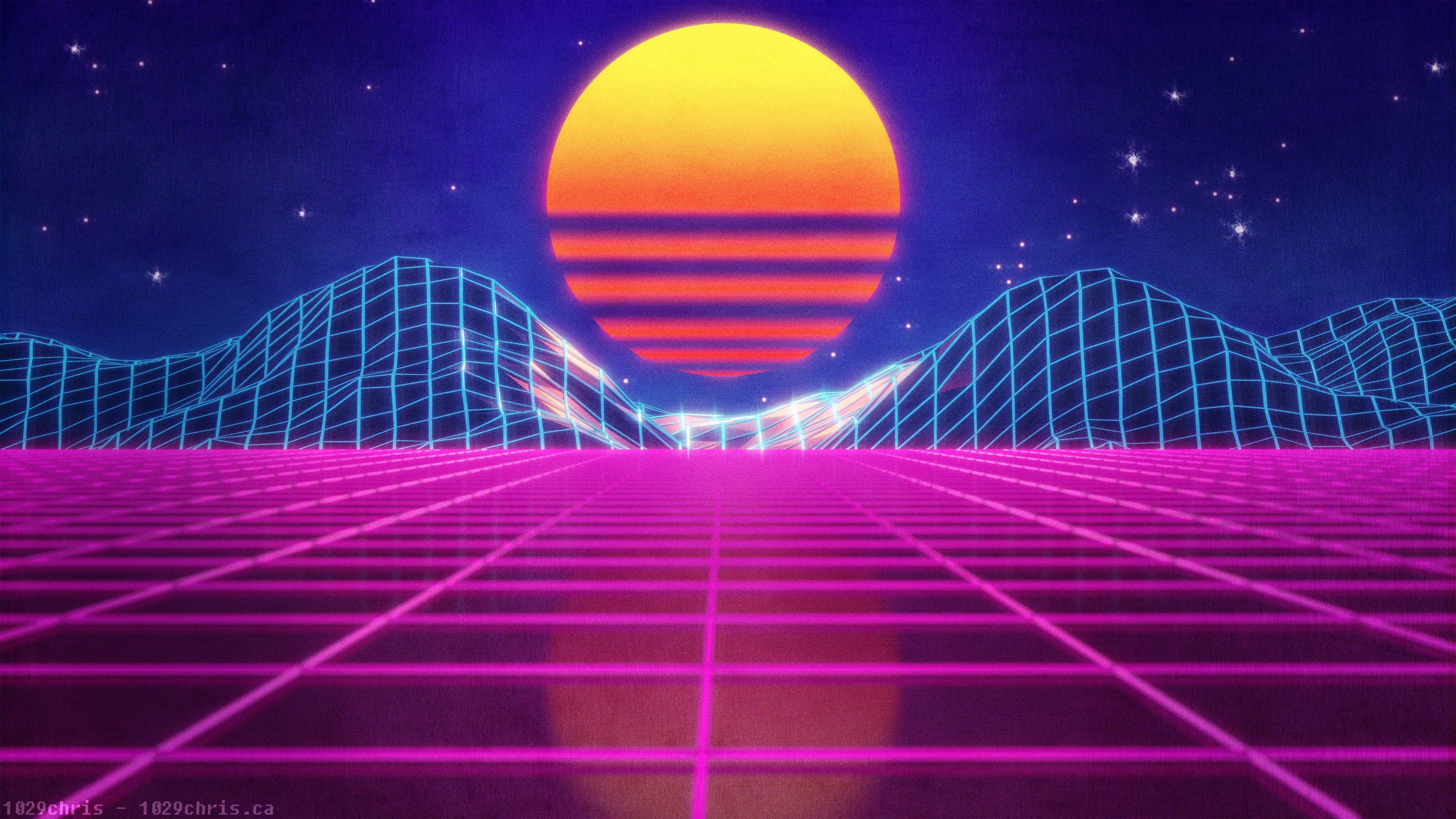 Neon Valley Wallpaper I Created In Blender Outrun Hintergrundbilder Bilder Hintergrundbilder Iphone