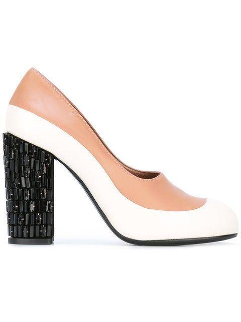 MARNI Crystal Embellished Heel Pumps. #marni #shoes #pumps