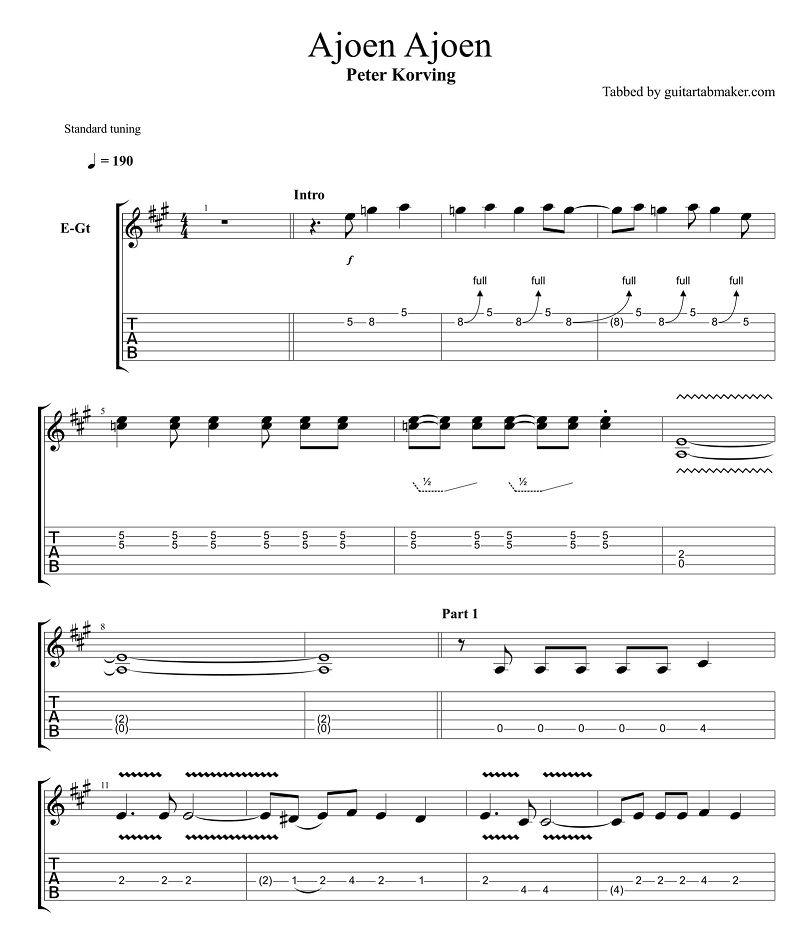Peter Korving - Ajoen Ajoen guitar tabs - instrumental guitar tab ...