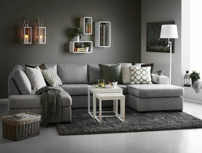 un salon en gris et blanc c 39 est chic voil 82 photos qui en t moignent d coration. Black Bedroom Furniture Sets. Home Design Ideas
