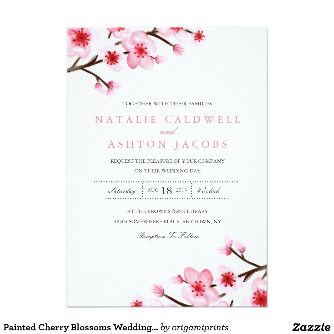 Painted Cherry Blossoms Wedding Invite | WEDDING IDEAS | Pinterest ...