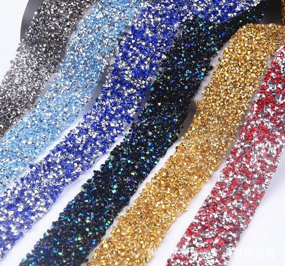 Hot Fix Rhinestone Crystal Ribbon Applique for Wedding Party Cake Decoration
