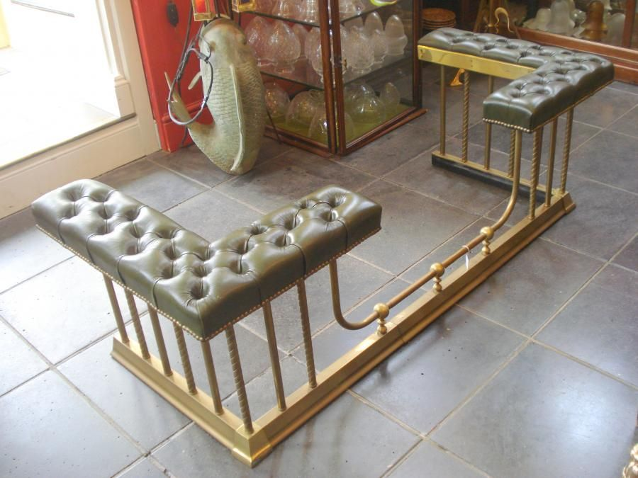 Salvoweb Antique Georgian Style Brass Club Fireplace Fender ...