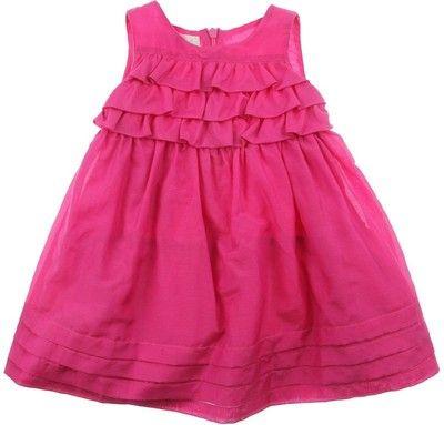 Elsy Baby Girls Fuchsia Cotton Silk Frill Dress