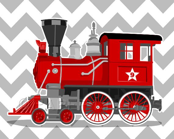 Train Wall Art boy art print - vintage train wall art - engine number 9