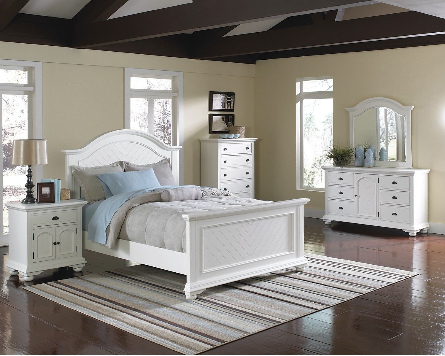 Bedroom Furniture - Brook Off-White 7-Piece Full Bedroom Set ...