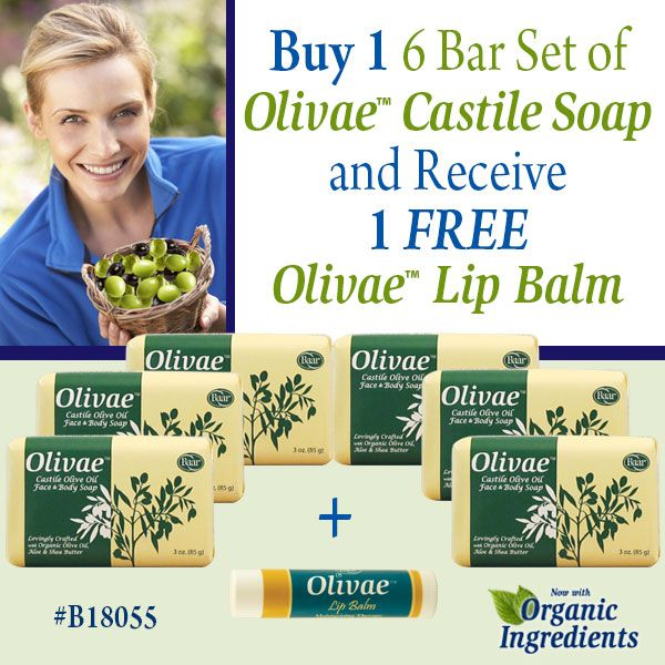 Experience Soft, Smooth Skin with our Olivae Special! Now when you add 1 of item # B18055, you will receive 1 FREE Olivae Lip Balm with your purchase of 1 Olivae 6 Bar Soap Set! Ends Sunday, May 29, 2016 11:59 PM EST. https://www.baar.com/olivae-6-bar-castile-soap-1-free-olivae-lip-balm