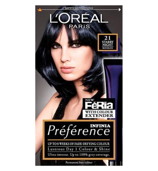 Loreal Paris Preference Infinia 21 Starry Night Blue Black Hair Dye Boots Black Hair Dye Blue Black Hair Dye Blue Black Hair