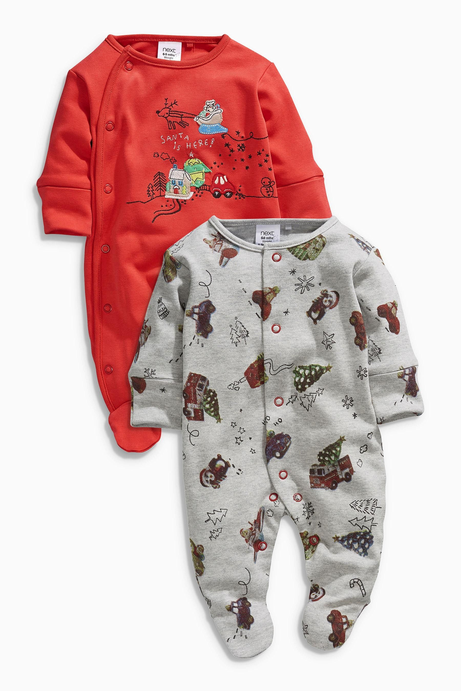 Buy Two Pack Embroidered Santa Sleepsuits (0mths2yrs