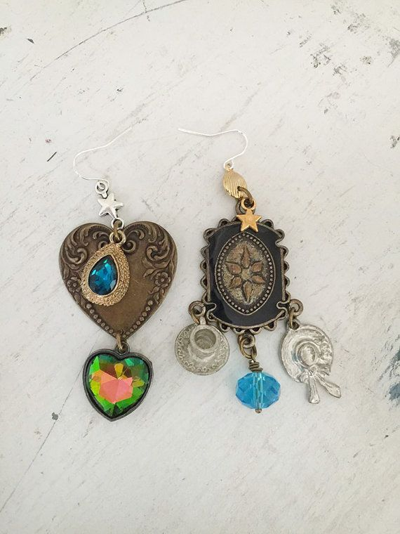 teaPartyupcycled dangle earrings repurposed jewelry by Arey
