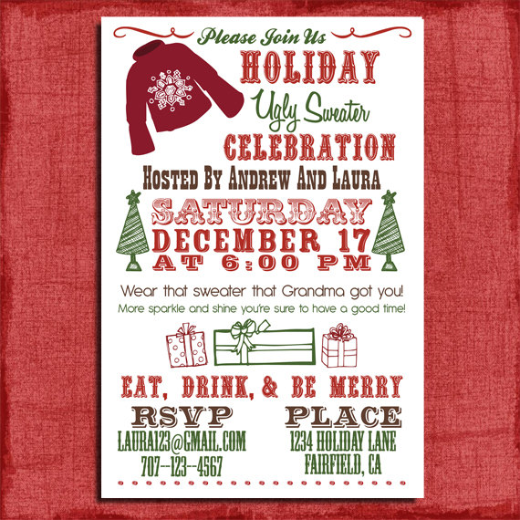 HolidayChristmas Ugly Sweater Party Invitation X Invitation