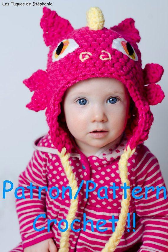 Crochet PATTERN Dragon hat, earflap crochet pattern cute baby dragon ...