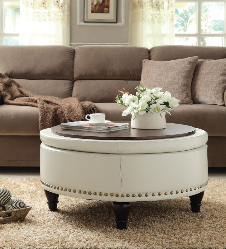 INSPIRED By Bassett Augusta Bonded Leather Storage Ottoman   Cream,  BP AUOT32 B28