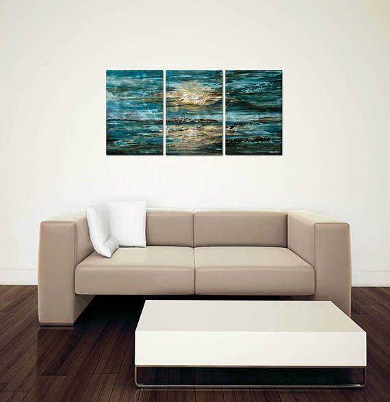 Metal Wall Art Celestial The Sea Blue Contemporary Home Decor