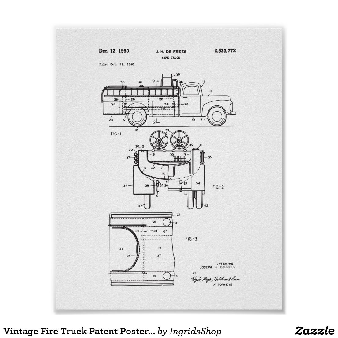 vintage fire truck patent poster firefighter [ 1106 x 1106 Pixel ]