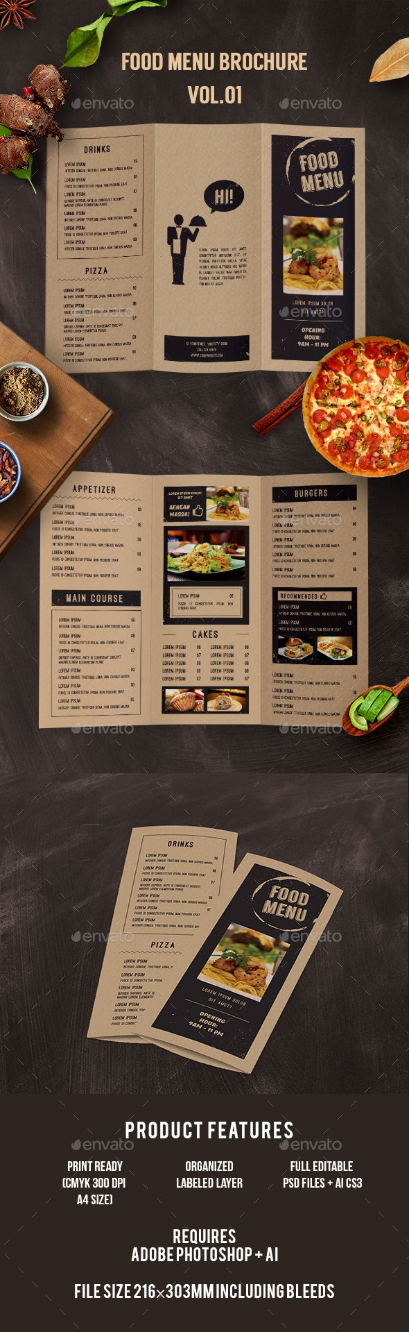 Trifold Food Menu  Food Menu Menu Printing And Print Templates