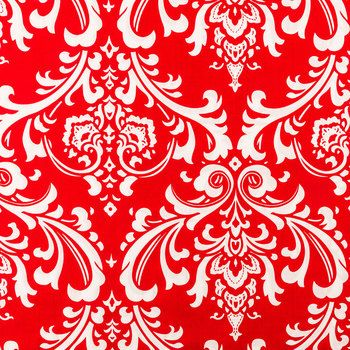 Red Damask Apparel Fabric