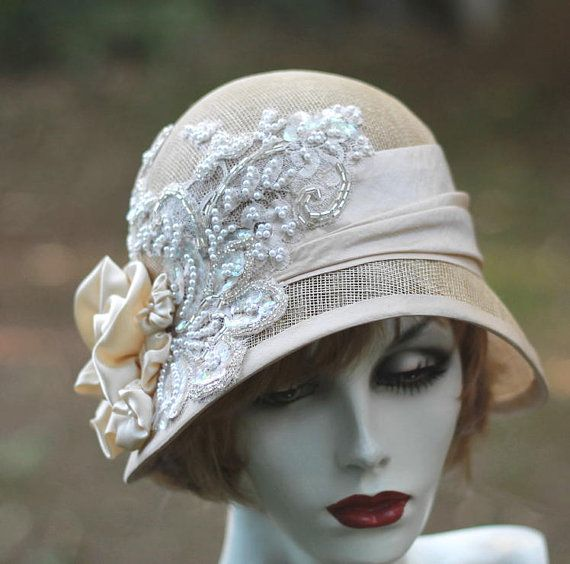 1920 S Great Gatsby Vintage Style Wedding Hat Lace Pearls Sequins Ivory Straw For Summer