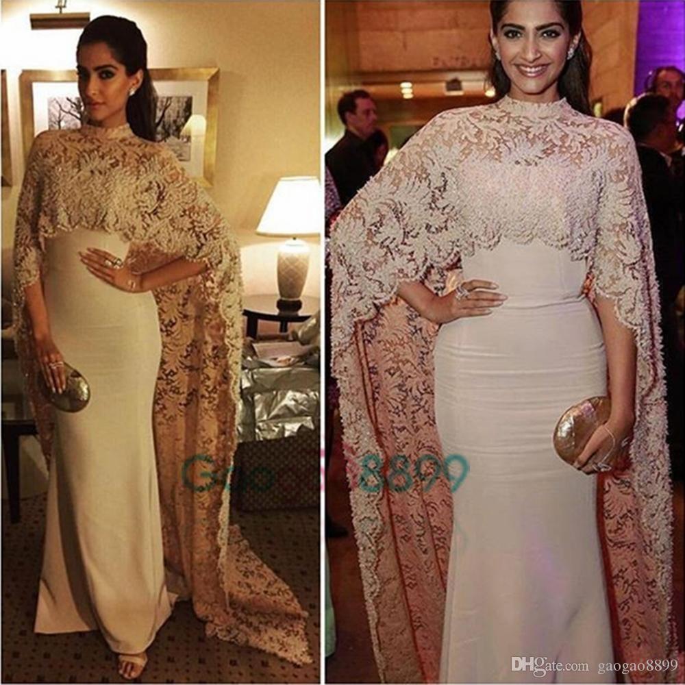 8537a87257 Sonam Kapoor In Paolo Sebastian High Neck Dubai Kaftan Nude Lace Cape Muslim  Evening Dress 2017 Islamic Arabic Long Sleeve Prom Formal Gown Evening  Dresses ...