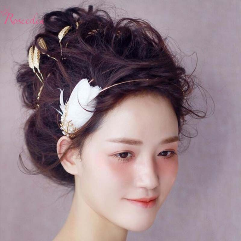 feather pearl hairband bride hair jewelry hair ornaments crown copper hoop branch golden wedding hair accessories RE620