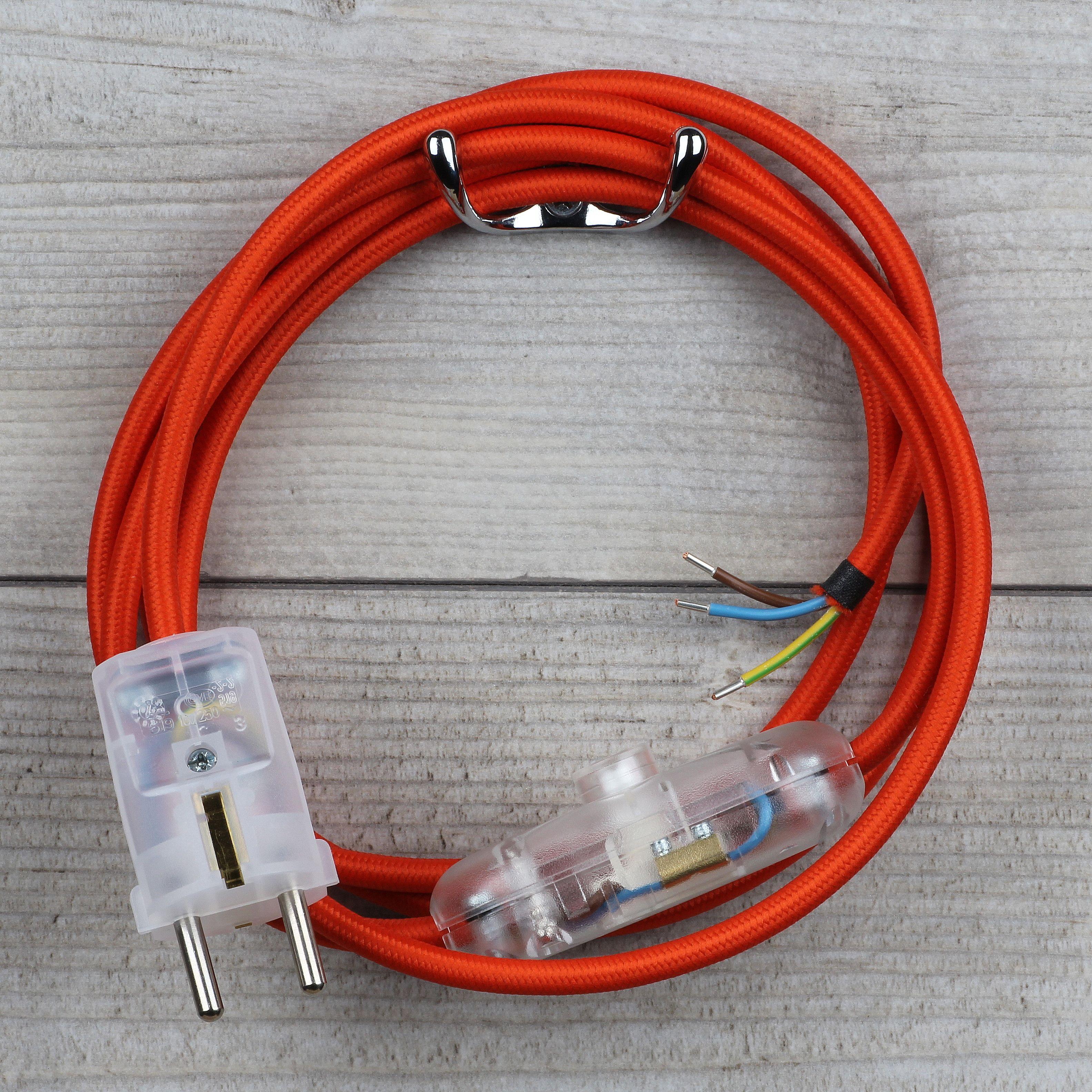 Textilkabel Orange Mit Schalter U Schutzkontakt Stecker 27 25 Textilkabel Kabel Stecker