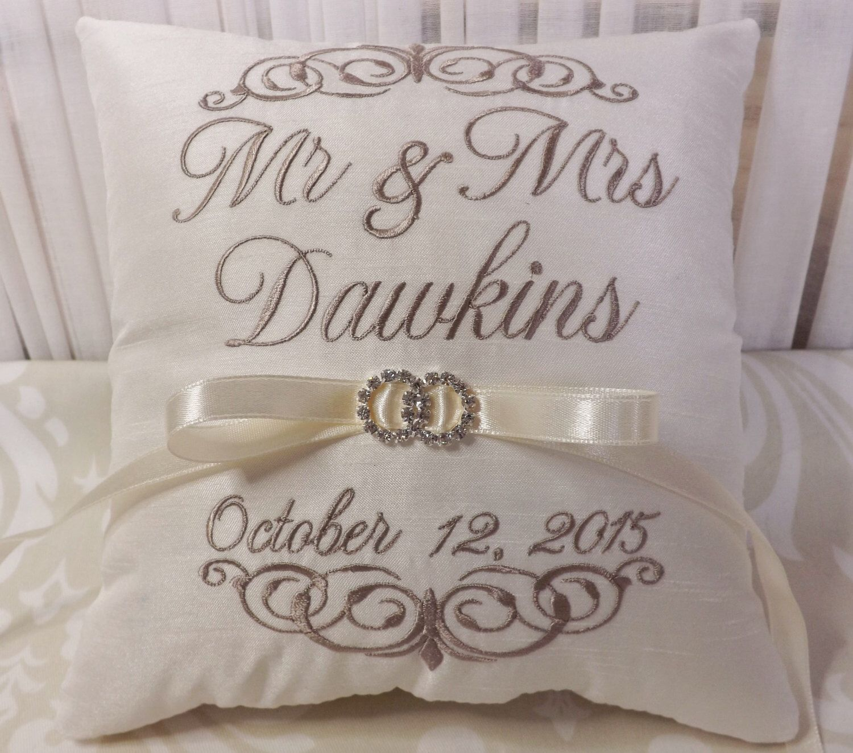 Ring Bearer Pillow, Mr. and Mrs. Ring Bearer Pillow, wedding pillow, ring pillow, embroidery personalized, custom by ElegantThreadsEtc on Etsy https://www.etsy.com/listing/226366698/ring-bearer-pillow-mr-and-mrs-ring