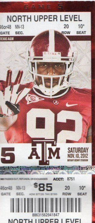 2012 Game Ticket From Alabama Crimson Tide V Texa A M Aggie In Tuscaloosa On 11 10 12 Sport Football Am Essay Prompts
