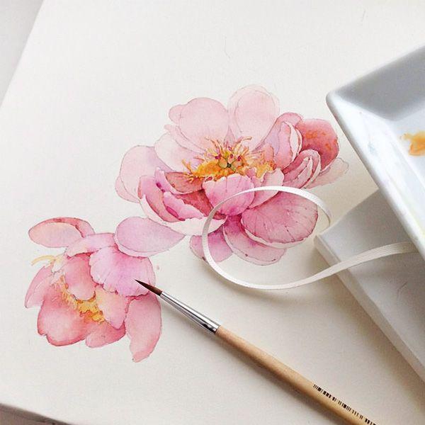 Peony Watercolor Flower Tattoos: Flowers Sketchbook By Katerina Pytina On Behance