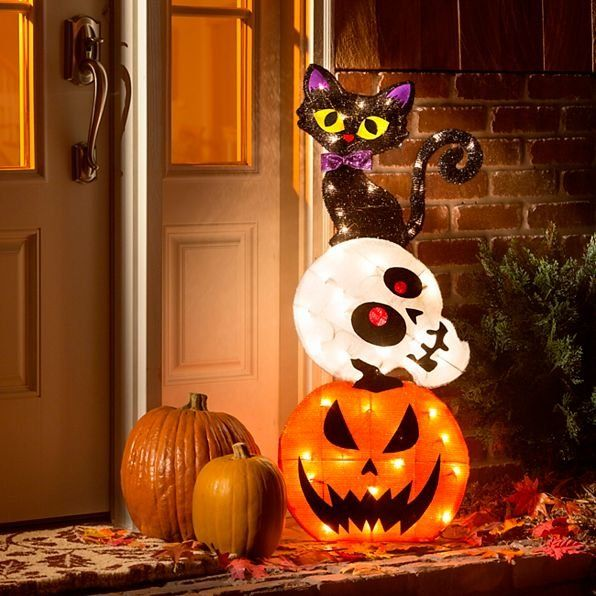 It\u0027s a cat\u0027s life! Add a touch of whimsy to your Halloween with this - halloween lighted decorations