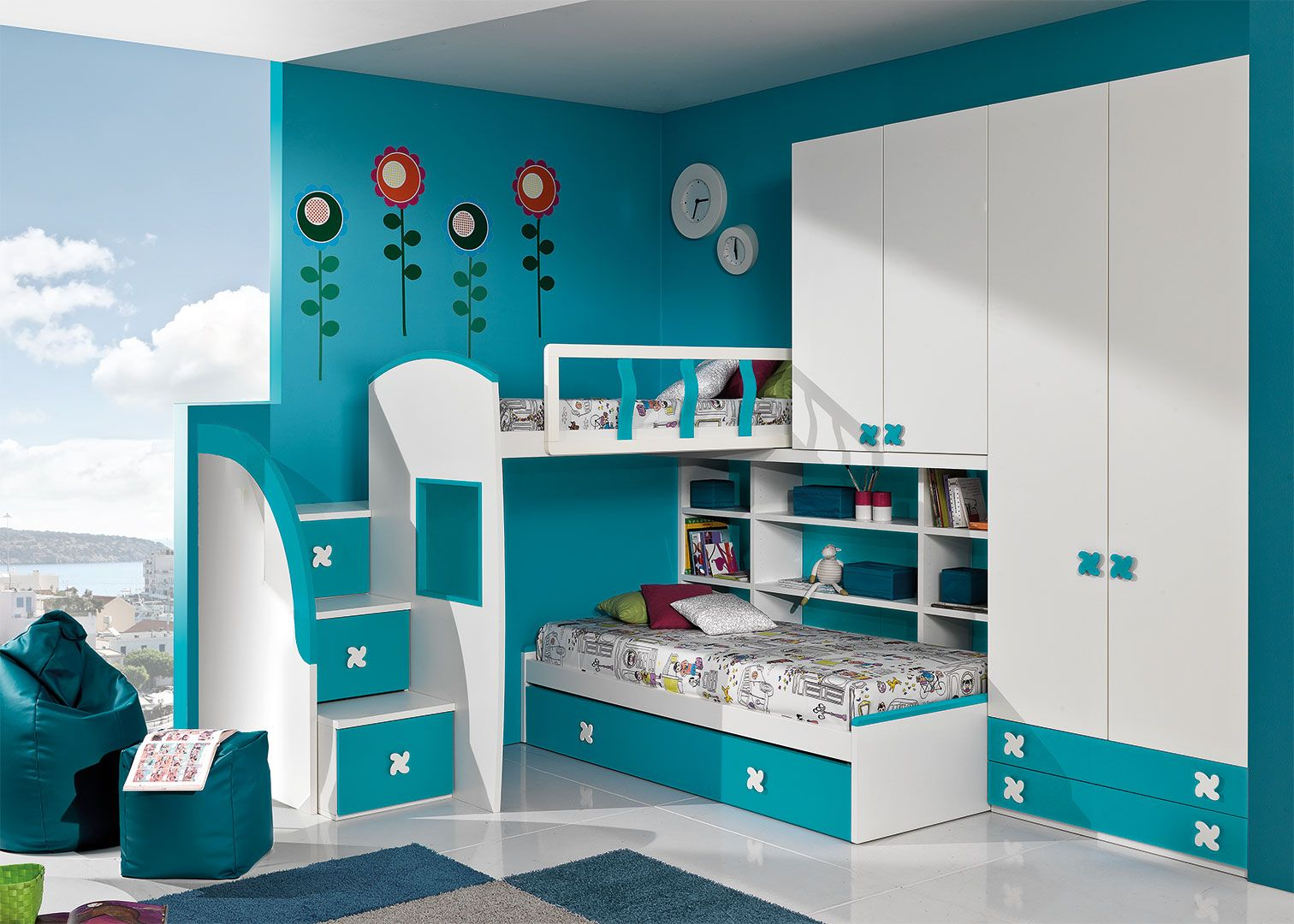 Camerette A Soppalco Ad Angolo Cm36 Giessegi You And Me  # Giessegi Muebles Infantil
