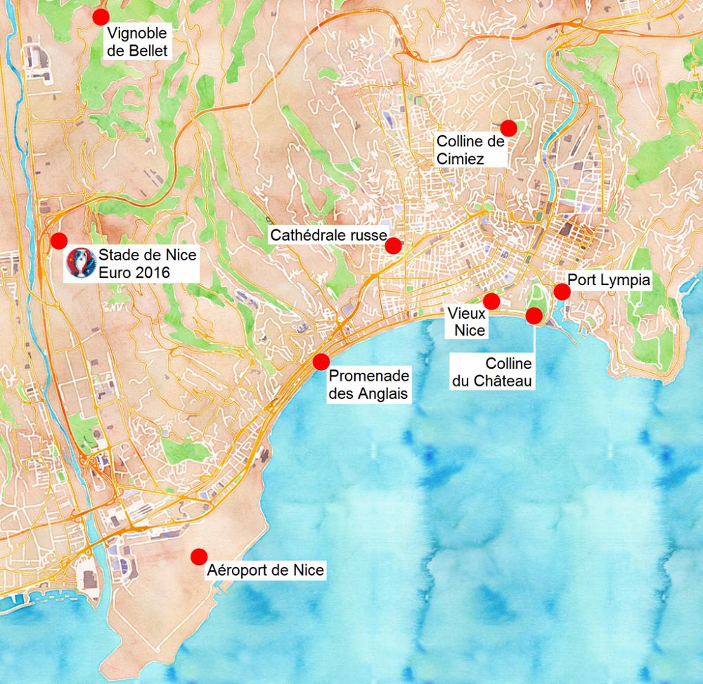Carte des sites touristiques de #Nice. #France