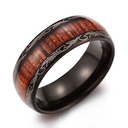 Caperci Men's 8mm Vintage Dome Wood Inlay Tungsten Carbide Ring Wedding Band Size 10.5 Caperci http://www.amazon.com/dp/B00SKS6JZY/ref=cm_sw_r_pi_dp_l.ydvb0GFTPW8 #tungsten #woodring #weddingband #blacktungsten