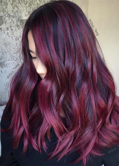 100 dark hair colors: black, brown, red, dark blonde shades