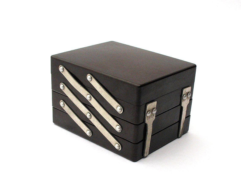 Antique Brown Bakelite Jewelry Box Jewellery Case with Three Trays