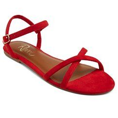 Red sandals flat