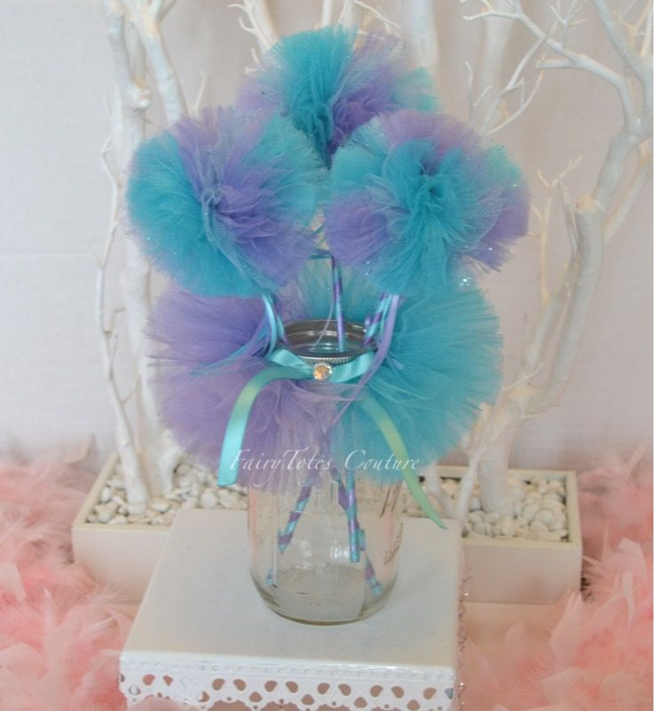 Little Mermaid Centerpiece Ideas Wedding: Little Mermaid Inspired Mason Jar Tutu And Tulle Wands
