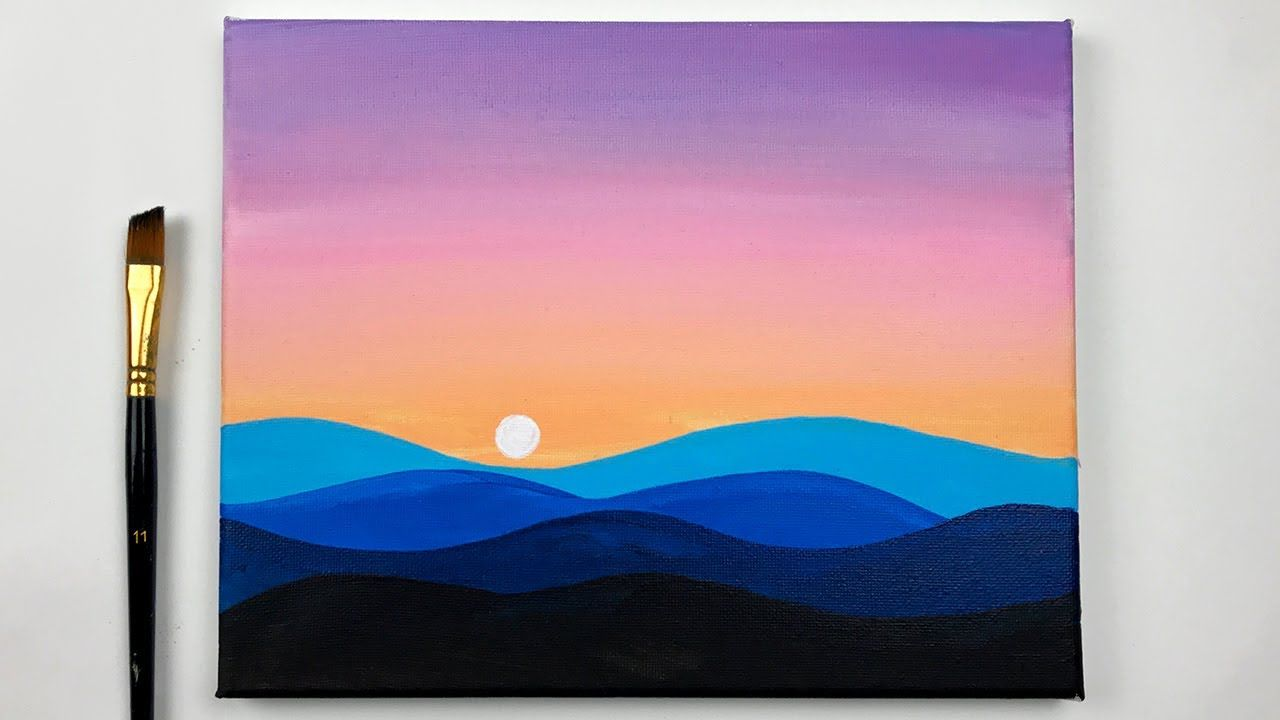 Sunset Dreams Sunset Acrylic Painting For Beginners Relaxing Demo In 2020 Simple Canvas Paintings Small Canvas Art Sunset Canvas Painting
