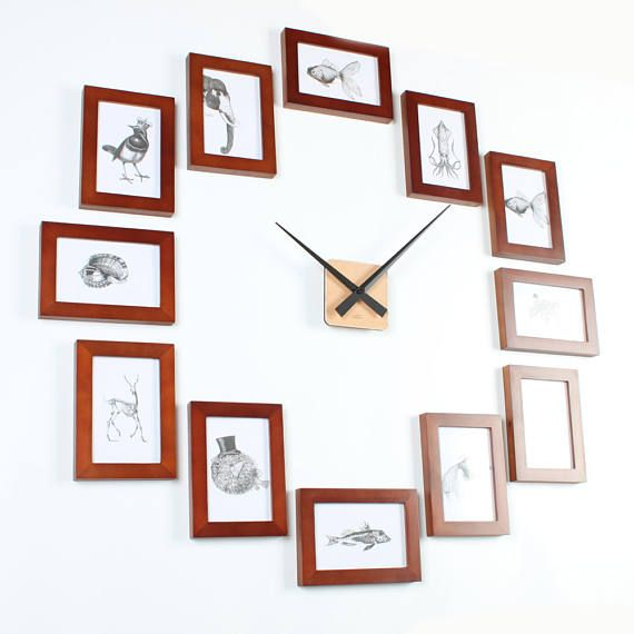 Photo Picture Frame Wall Clock - Modern 12R Brown in 2018 | Picture ...